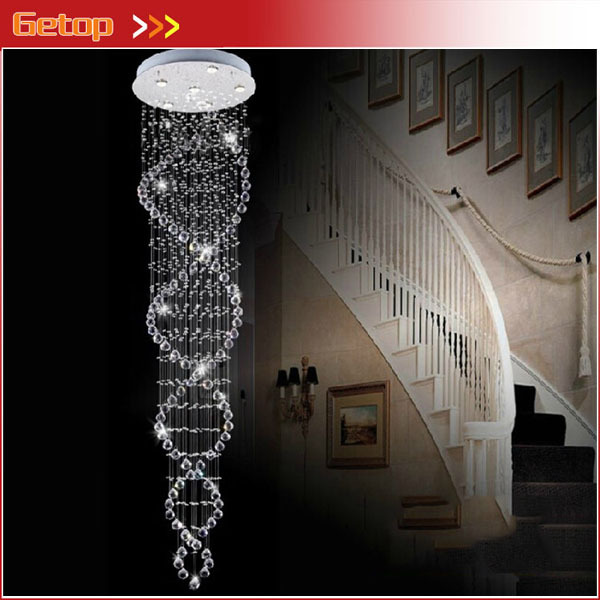 Hot Sale Modern Double Staircase Lights Superdense K9 Crystal Lamp Spiral Ceiling Living Room