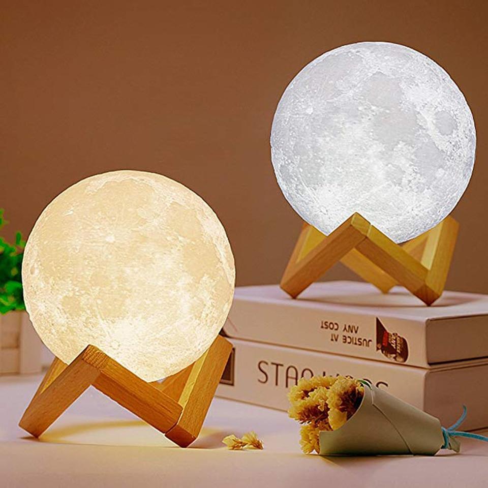 Xsky 3D พิมพ์ Moon Light สวิทช์สัมผัสตารางโคมไฟห้องนอนตู้หนังสือ USB LED Night Light Home Decor 3D ไฟดวงจันทร์ของขวัญสร้าง...