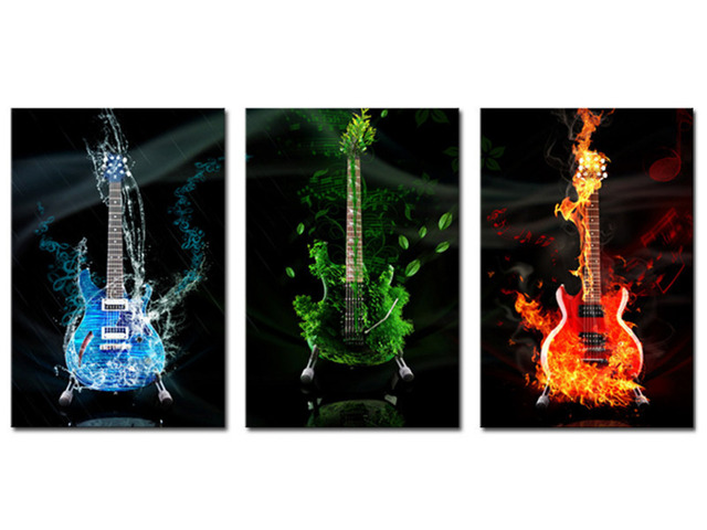 3 Panels Canvas Print Fire Guitar Painting On Canvas Wall Art Picture Home  Decor THR008