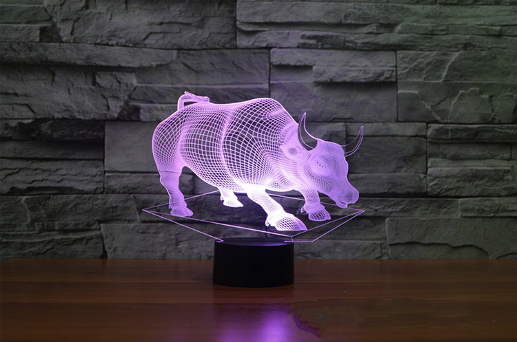 LED 3D Night Light Remote Touch Swithc Buffalo Colorful Desk Table Bull Lamp USB 3D Illusion Animal Baby Sleeping Table Light