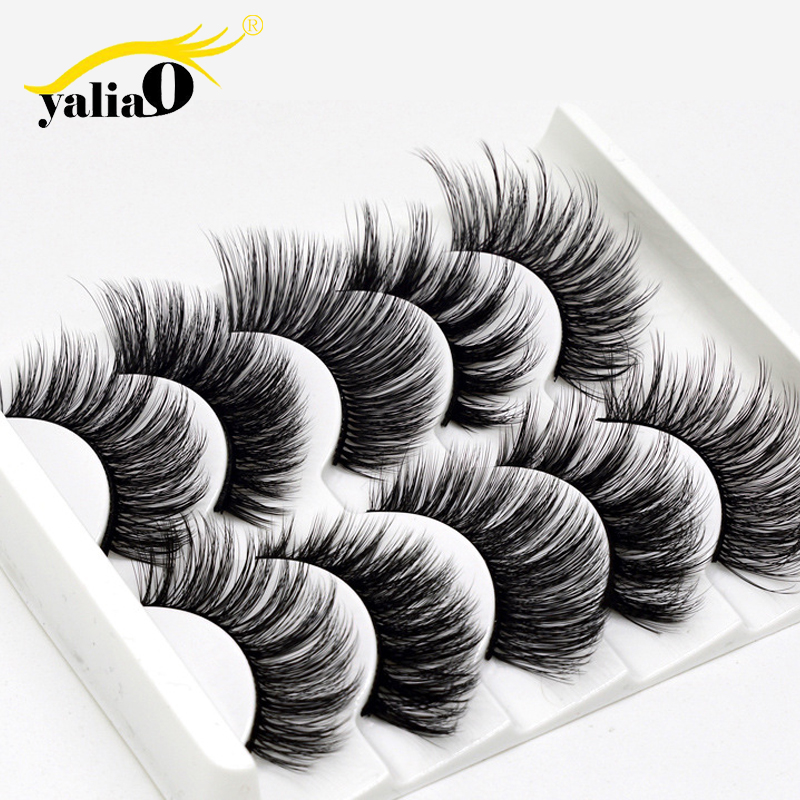 YALIAO 3D False Eyelashes 5 Pairs Synthetic Hair Blastic Cotton Stalk Handmade Soft Thick Natural Long Wedding Fake Lashes