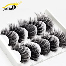 YALIAO 3D False Eyelashes 5 Pairs Synthetic Hair Blastic Cotton Stalk Handmade Soft Thick Natural Long Wedding Fake Lashes