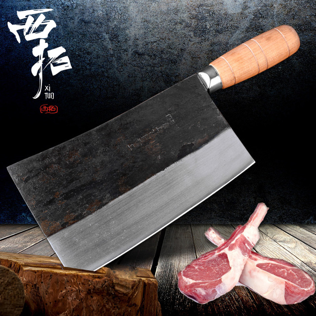 Xituo Blade Handmade Forged Chinese Kitchen Knife Stainless Steel Cleaver Chopper Butcher Knife Heavy Duty With Wooden H