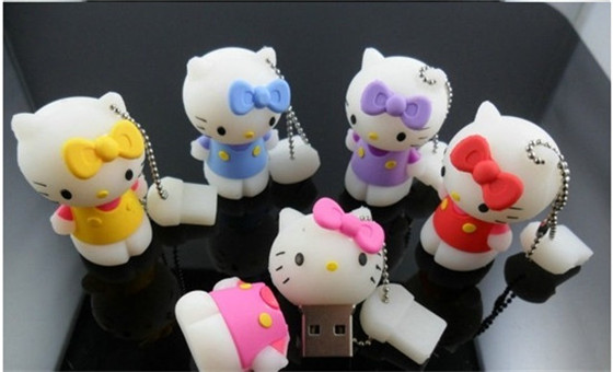 100% real capacity 4GB/8GB/16GB/32GB usb flash drive usb 2.0 pen drive memory stick cartoon kitty cat gift Creativo Pendrive S13