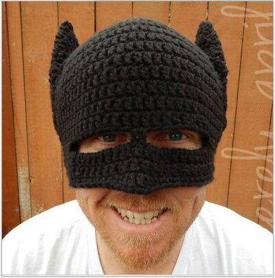Cool Winter Bat Mens Crochet Beanie hat Snow Ski Cap with Ear Flap handmade head warmer knit hats