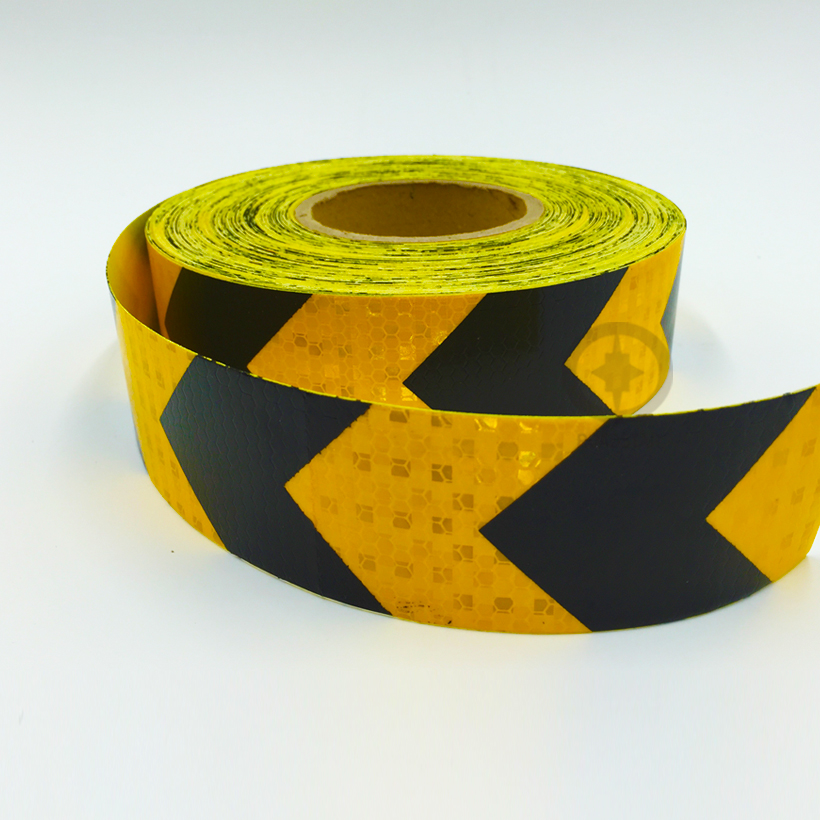 5cmx5m  Self-Adhesive Reflective Warning Tape With Yellow Black Color Arrow Printing For Car