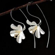 NEHZY-pendientes largos de flores elegantes para mujer, de Plata de Ley 925, joyería a la moda Artesanías hechas a mano Mujer
