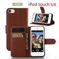 Sacos de titular do cartão bolsa carteira retro virar pu leather case para apple iPod Touch 5 6 Telefone Bag Capa de Luxo Ver Janela Suporte De Vídeo