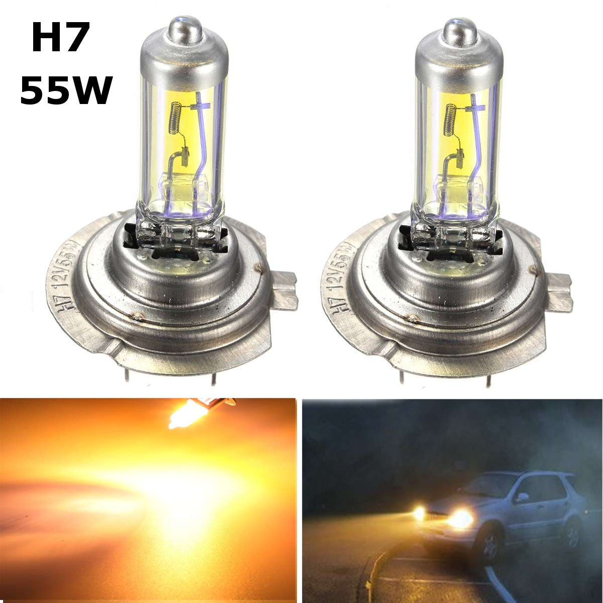 Magnifiek H1 H3 H4 H7 55 w Geel LED Auto Licht Halogeen Lamp Auto Styling WA92