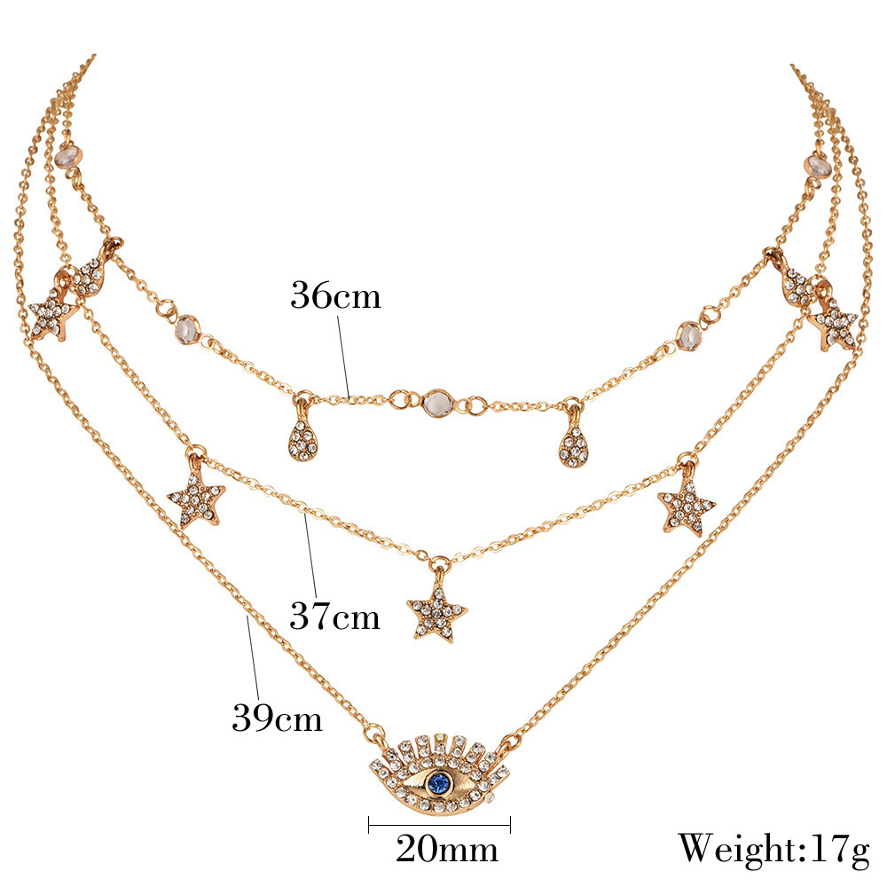 New Boho Multilayer Gold Color Alloy Link Chains Chokers Necklace Stars Crystal Pendants&Necklaces For Women Girl Choker Collar 38