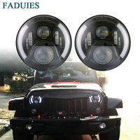FADUIES 7 Inch Round High Low Beam With Halo Ring LED Headlight For 97 2017 Jeep