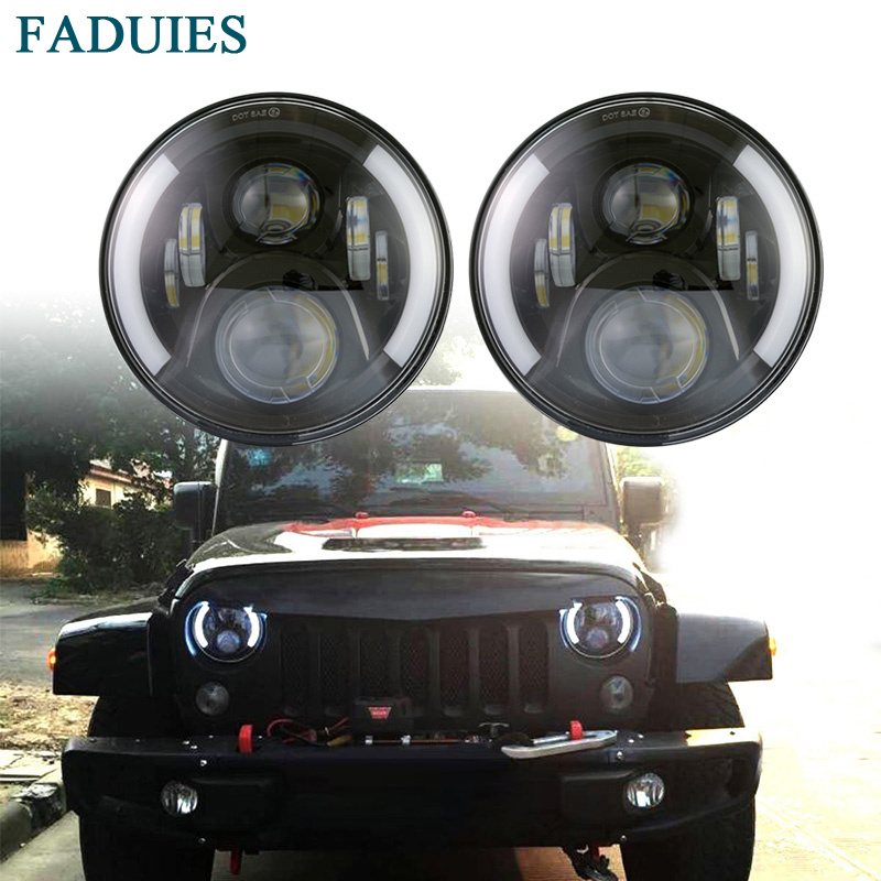 FADUIES 7 Inch Round High/Low Beam With Halo Ring LED Headlight For 97-2017 Jeep Wrangler JKU JK LJ TJ For Lada 4x4 urban Niva pair 7 inch round high low led headlight with amber signal halo ring angle eyes with drl halo for 97 15 jeep wrangler jk tj