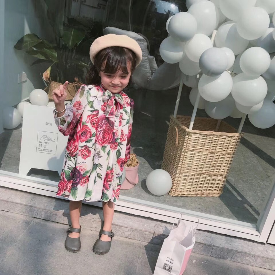 Girls floral dress long sleeve fashion baby gilrs dresses boutique kids costume baby princess party dress flutter sleeve elastic waist floral dress