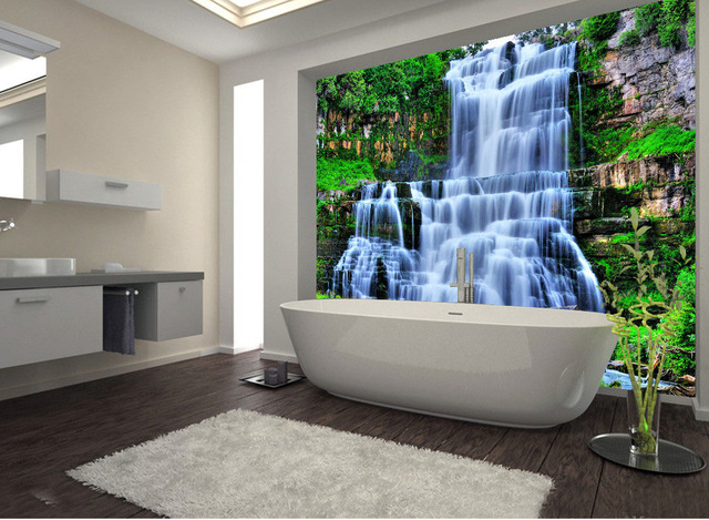 Large 3D Wall Stickers Cliff Water Falls Shower Bathtub Art Wall Mural  Floor Decals Creative Design