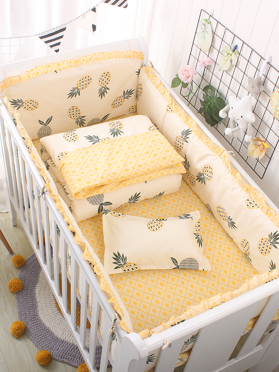 6/9pcs Pineapple Baby Bedding Package Cotton Baby Bumper Ropa De Cama Baby Bed Set Cartoon Removable Boys And Girls Unisex