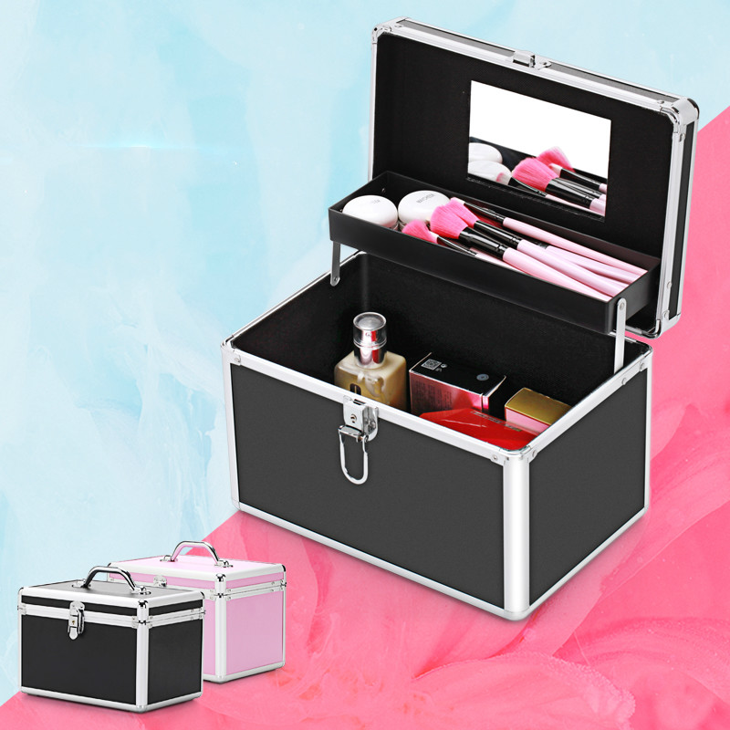 New Professional Aluminum Makeup Case Portable Travel Jewelry Cosmetic Organizer Box With Mirror Beauty Vanity Brush Storage Bag