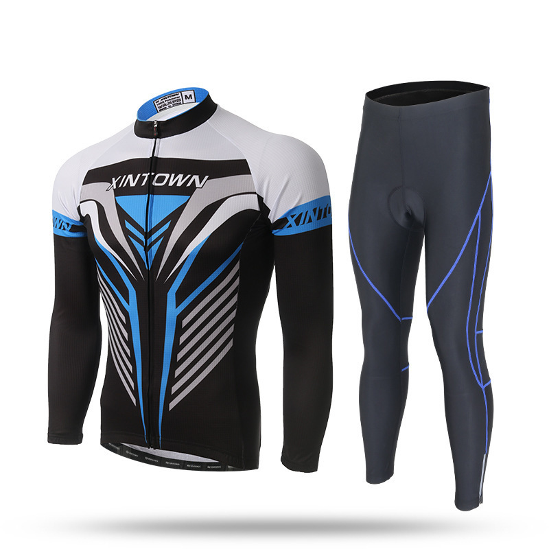 XINTOWN Spring Summer Long Sleeve Cycling Jersey Suit Men MTB Bike Tights High Quality Gel Cycling Clothings Colors wosawe men s long sleeve cycling jersey sets breathable gel padded mtb tights sportswear for all season cycling clothings