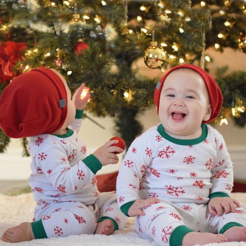 2018 новорожденных Рождество для маленьких Одежда для маленьких мальчиков и девочек снежинки с принтом Топ и штаны комплекты одежды из 2 пред...