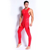 New Sexy Lingerie Tight Zipper To Crotch Faux Leather Pole Dancing Nightclub Erotic Bodysuit,Clubwear Lingerie Sexy Gay Costume