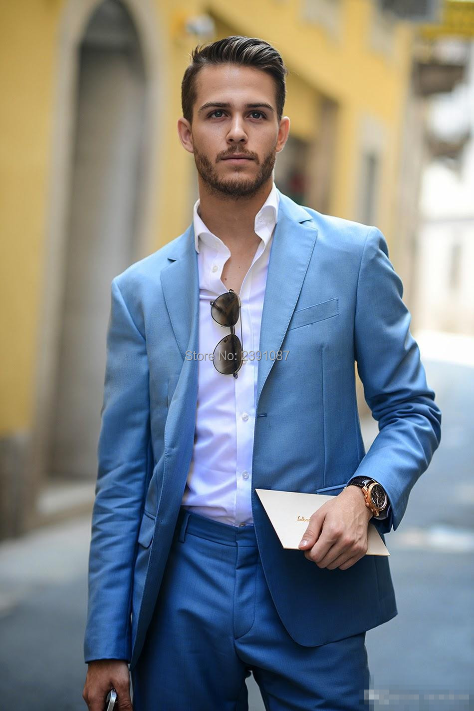 Handsome Light Blue Groom Tuxedos Two Pieces Custom Made Slim Fit ...