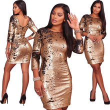 1a45e9e9 Sequin Gold Dress Female Vogue Dresses Nice Ladies Elegant Bodycon Backless  Sexy Wrap Dress Tight Fitting Women Clothing Club