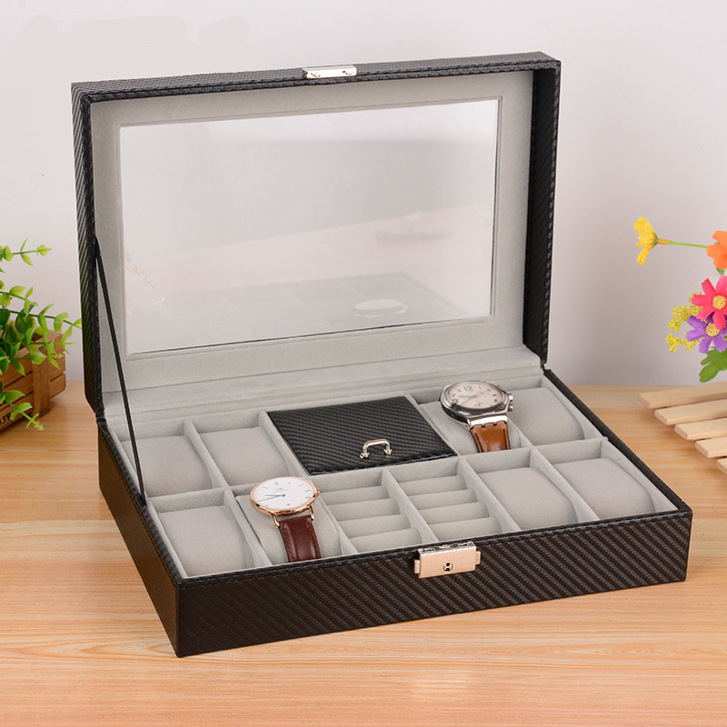 8 Grid Watch + 2 Grid Ring Display Box Watches Rings Case Jewelry Storage Holder Organizer Carbon Fibre Best As Gift Box