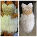 2017 New Real Photos Cocktail Dresses White Feather Skirt Short Sequined Vestidos De Soiree Custom Homecoming Dress