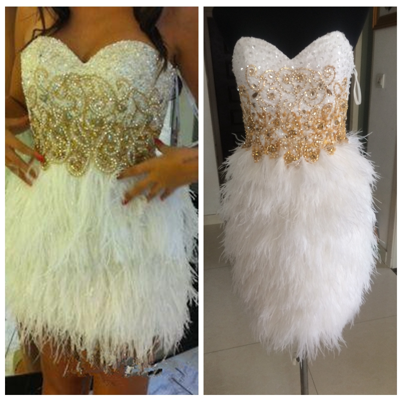 2019 New Real Photos Cocktail Dresses White Feather Skirt Short Sequined Vestidos De Soiree Custom Homecoming Dress