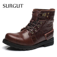 SURGUT Brand Waterproof Winter Warm Snow Boots Men Cow Split Leather Motorcycle Ankle Martin High Cut