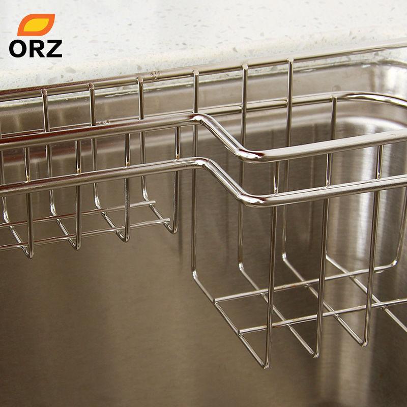 ORZ de cocina de acero inoxidable bandeja plato escurridor estante de  secado fregadero soporte cesta cuchillo esponja plato Rack organizador de  cocina en ... ad77ea1f8b94