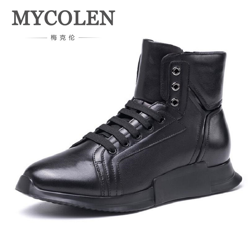 MYCOLEN High Quality High Top Men Casual Shoes Fashion Winter Comfort Male Shoes Adult Men Lace Up Walking Shoes Black Footwear high quality canvas men casual shoes breathable fashion footwear male loafers shoes black mens shoes sales flats walking shoes