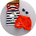 2016 New Arriva 1 2 3 years old baby clothing set with little dog printed fashion boys clothes vest suit cotton material o-neck
