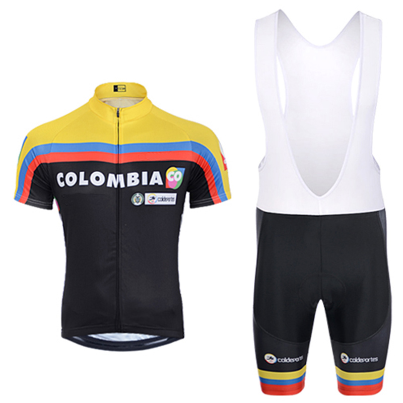 Crossrider 2015 TEAM COLOMBIA cycling pro jersey bib Set MTB Bike clothing Ropa Ciclismo mens short Maillot Culotte sports suit