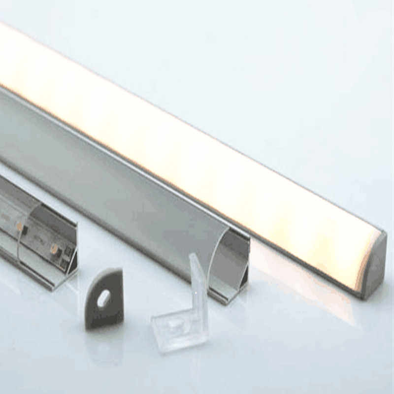 3-10 pcs/lot 0.5 m/pc 45 degrés profilé en aluminium de coin pour 5050,3528 led bande, couverture laiteuse/transparente pour 10mm pcb 1002