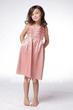 42776 A Line Hater Strap Knee Length Taffeta Coral Junior Bridesmaids Dresses