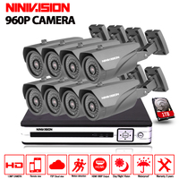 8CH 1080N DVR 8PCS 960P IR Weatherproof Outdoor CCTV Camera Home Security System Surveillance Kits Sistemas