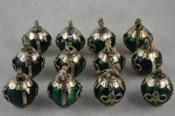 ( 12 PCS )Exquisite Chinese Old Decorated Handwork Green Jade Ball Chinese 12 Zodiac Animal Statues