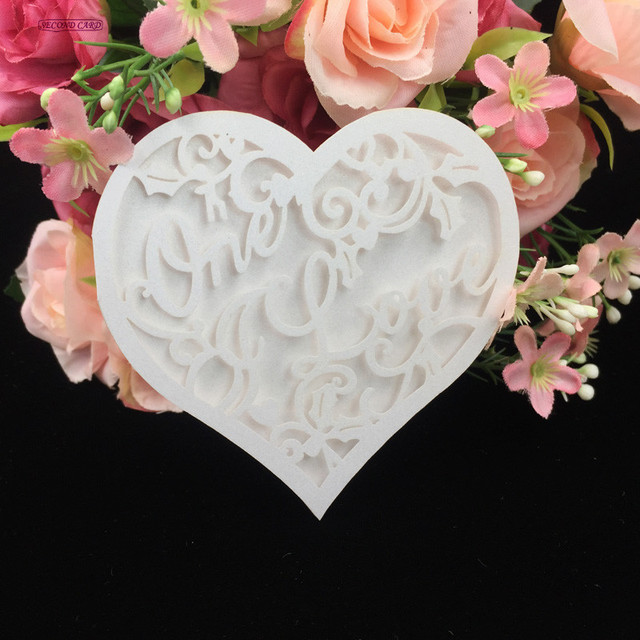10pcs/lot Laser Cut Heart shaped Hollow Design Wedding Invitation ...