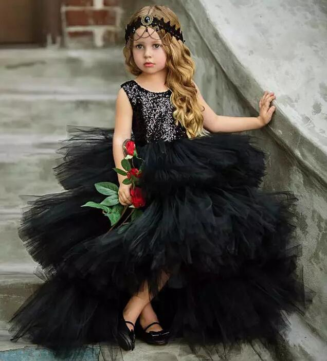 Cute Black Tiered Girls Birthday Pageant Gowns 2018 Sequined And Tulle Flower Girl Dresses For Wedding Open Back plus polk dot tiered ruffle trim open back dress