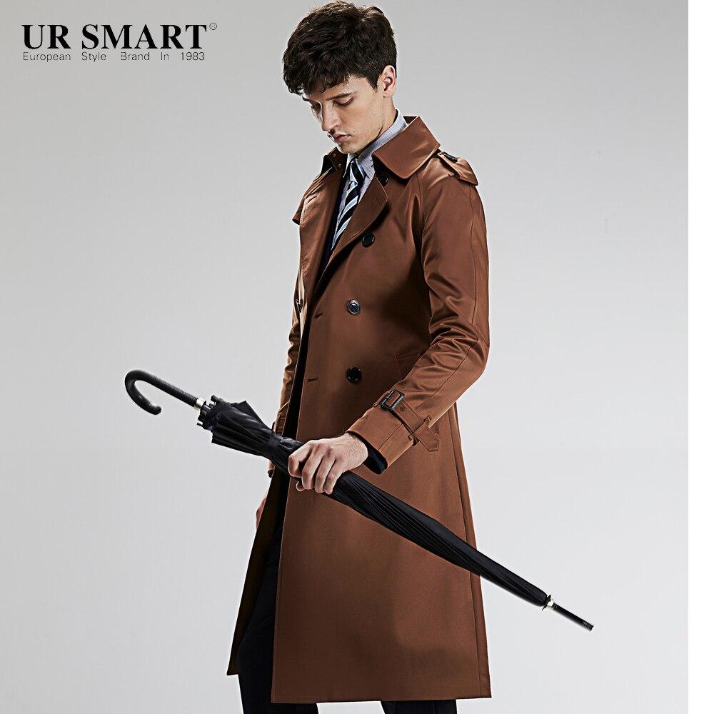New nobility URSMART double-breasted men's windbreaker super long weather-proof waist male trench coat