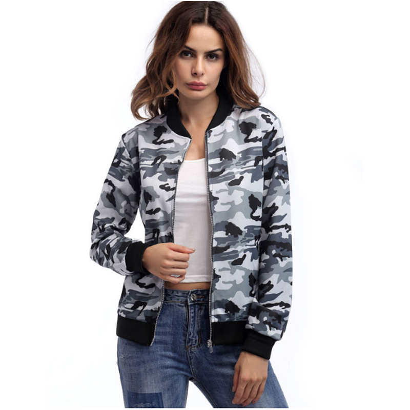 2019 Camouflage Army Women Zipper Bomber   Jacket   Long Sleeve Casual Slim   Basic     Jacket   Camo Plus Size