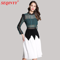 Hollow Out Sexy Women Dress 2018 Summer Vintage Fashion 3 4 Sleeve Stand Collar Heavy Work