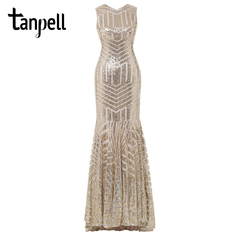 Image 2 - Tanpell sequins long evening dress golden scoop sleeveless floor length dress cheap mermaid zipper up formal party evening gown-in Evening Dresses from Weddings & Events
