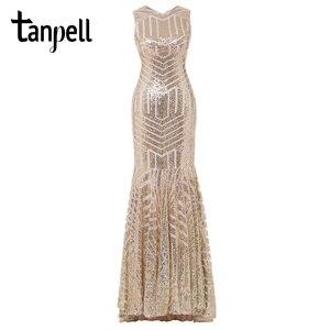 Image 2 - Tanpell פאייטים ארוך שמלת ערב זהב סקופ ללא שרוולים מקיר לקיר אורך שמלת זול בת ים רוכסן עד פורמליות המפלגה שמלת הערב