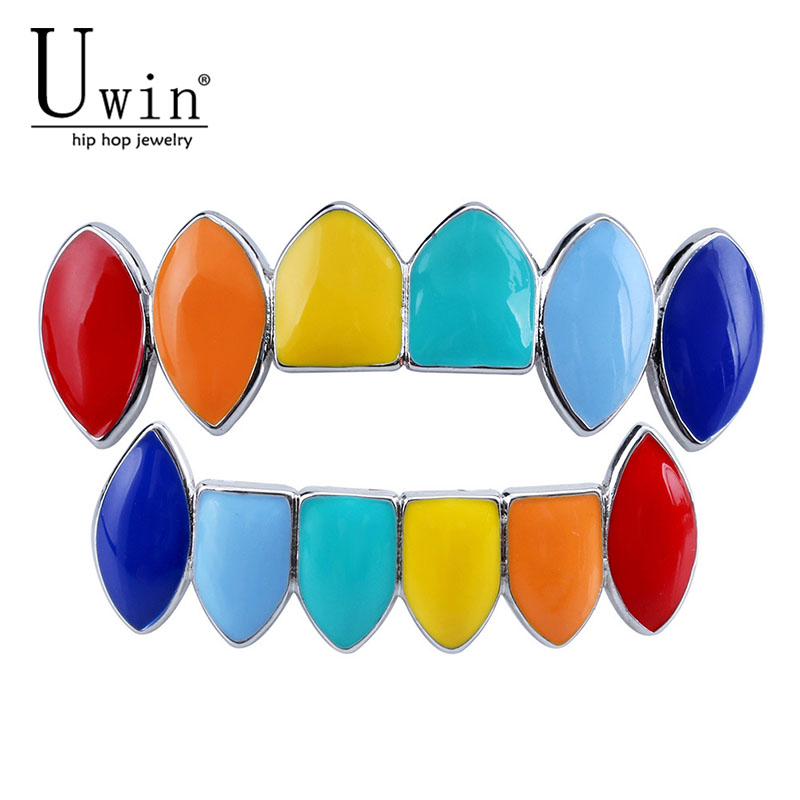 UWIN Multicolor Grills Hip Hop Caps Top & Bottom Colorful Grills Set Canine Teeth Party Tooth Rapper Men Fashion Jewelry patesun chance 3 rapper baseball cap 424 letter embroidery snapback caps men women hip hop dad hat street fashion gothic gorro