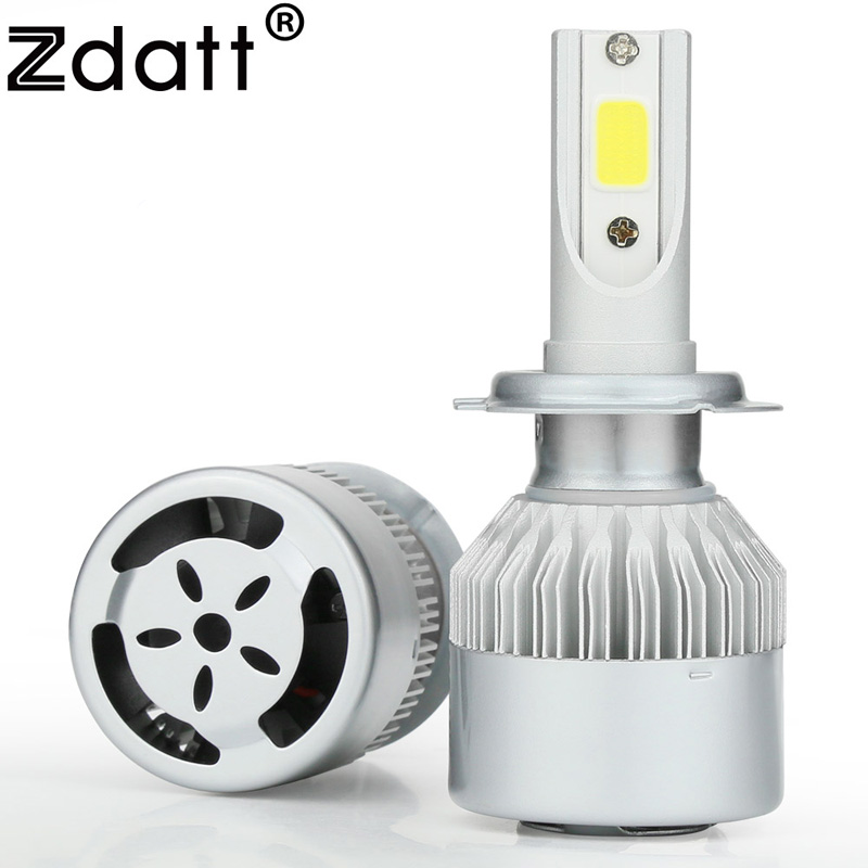 Zdatt 1Pair Super Bright H7 Led Lamp 72W 7600Lm Headlight Bulbs Auto Led Bulb With Fan Car Led Light 6000K White 12V Automobiles 2x 7 5w led white t20 7743 super bright car back up reverse tail light bulbs lamp