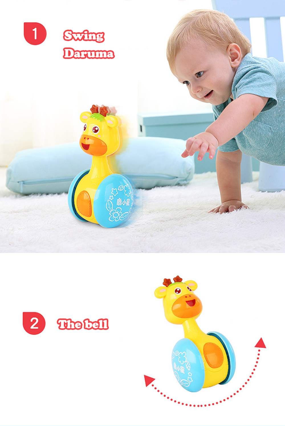 Baby Teether Shaker Tumbler Kawaii Rattles Deer Cute Doll for Children Musical Instrument Mini Animals Learning Education Toys (16)