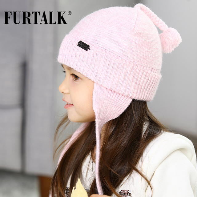 FURTALK children winter wool baby hat girl and boy earflaps hats knit beanie B019