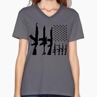 Bandeira americana Com Metralhadoras Com Decote Em V Do Vintage T Engraçado para As Mulheres Gráfico Impresso T-shirt de manga Curta-