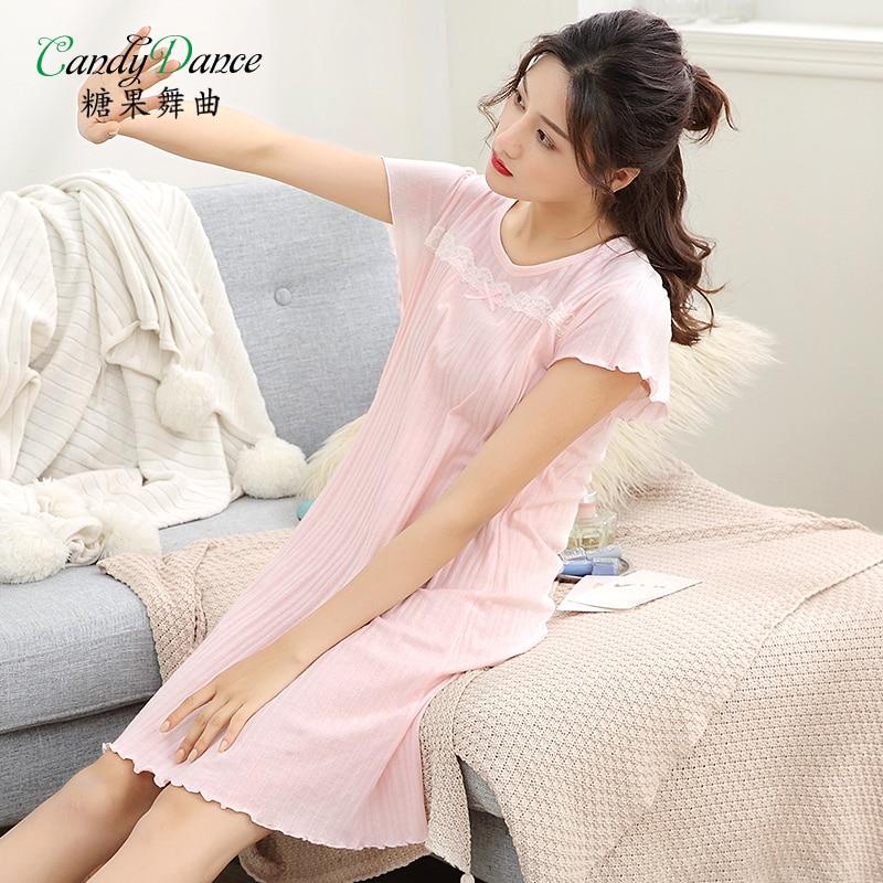Ladies\' nightgowns summer short sleeve 100% cotton thin plus ...